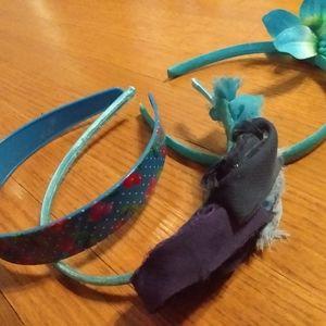 Three blue assorted headbands